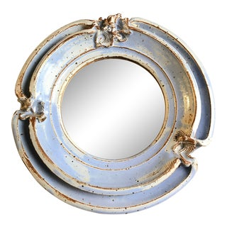 Boho Hand-Thrown Ceramic Stoneware Double Rimmed Round Mirror For Sale