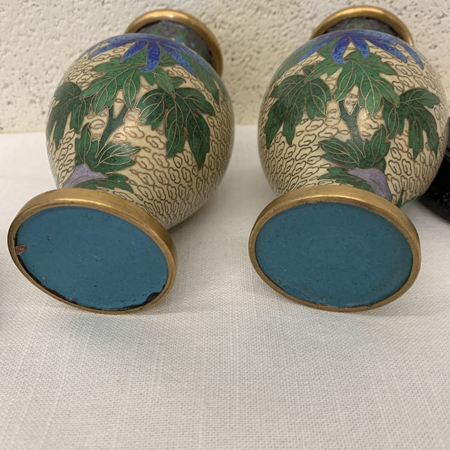 Vintage Chinese Cloisonné Vases -A Pair For Sale - Image 9 of 13