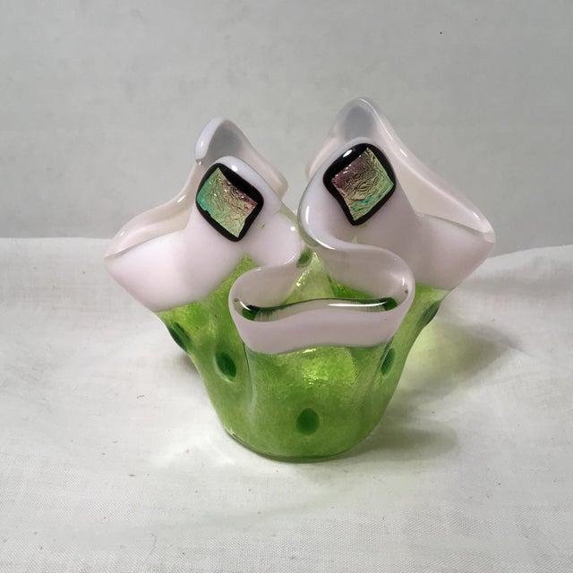 Handmade Clover Green Glass Vase For Sale - Image 4 of 11