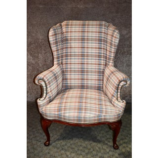 Shape Patterned Queen Anne Style Wing Chair Preview