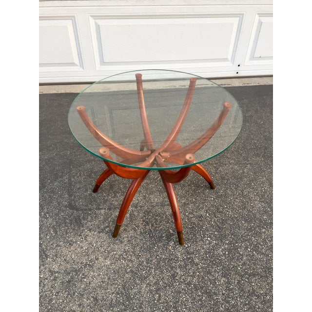 Brass Mid-Century Modern Teak Spider Leg Table For Sale - Image 7 of 9