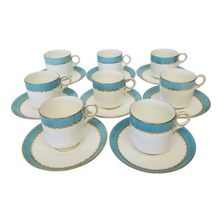 Late 19th Century Paris Porcelain Demi Tasse With Gilt and Robins Egg Blue Banding - Set of 8 For Sale
