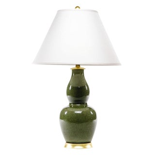 Lawrence & Scott Scarlett Porcelain Table Lamp in Celadon Crackle With Gilded Gold Base For Sale