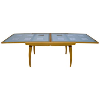 Expandable Wood & Glass Scandinavian Style Table For Sale