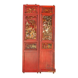 Antique Scarlet Red Gilt Asian Panels For Sale