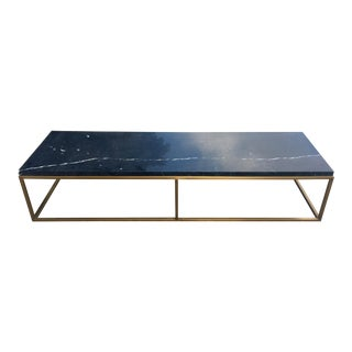 Marble and Metallic Base Coffee Table by Antonio Sapotito For Sale