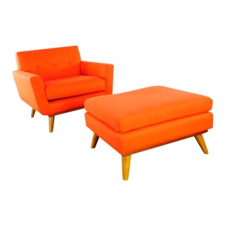 Atomic Red Upholstered Armchair & Ottoman For Sale