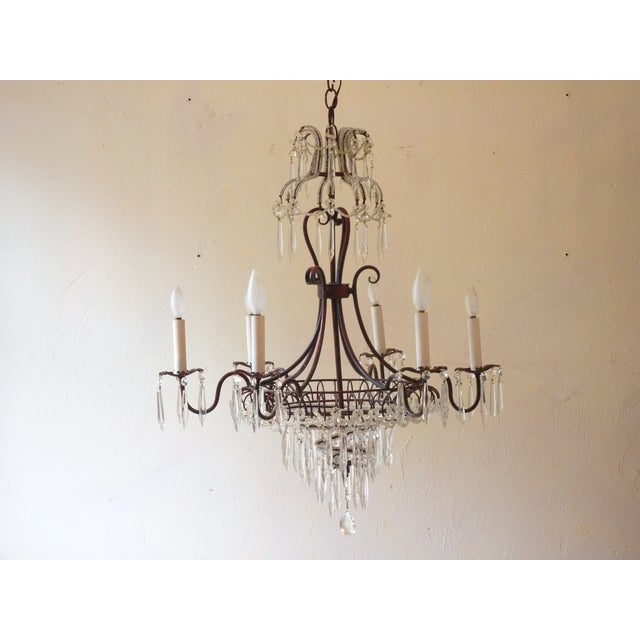 Crystal French Tole & Crystal Chandelier For Sale - Image 7 of 11