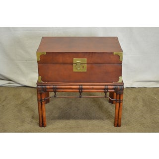 Craftwork Gilt Campaign Style Lidded Accent Chest on Bamboo Frame Preview