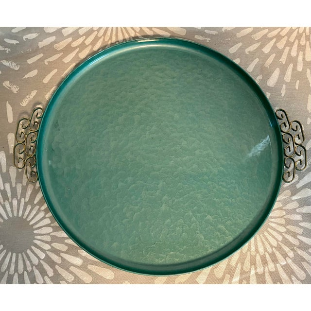Metal 1950s Moiré Glaze Kyes Green California Handmade Tray For Sale - Image 7 of 7