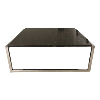 Modern Stone & Metal Cocktail Table For Sale