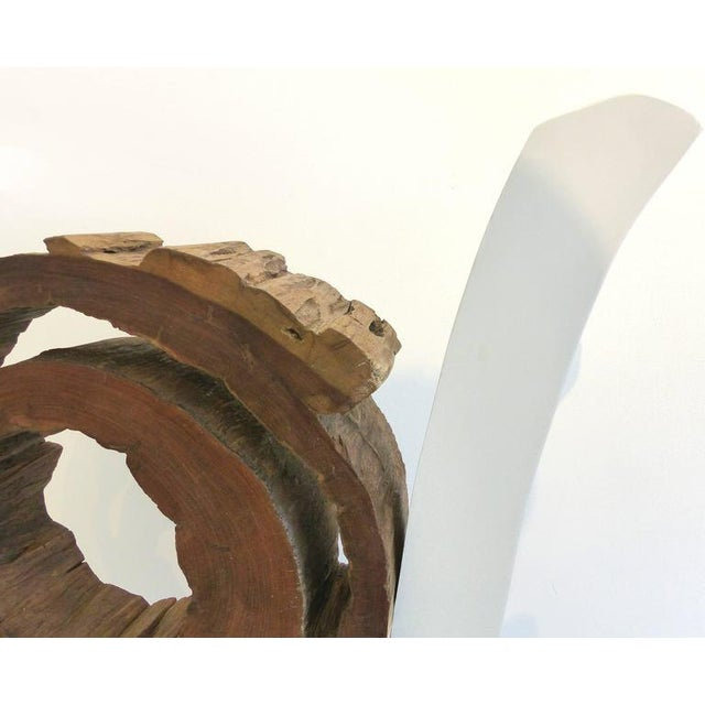 White Ipe Reclaimed Wood Mounted Sculpture by Valeria Totti For Sale - Image 8 of 11