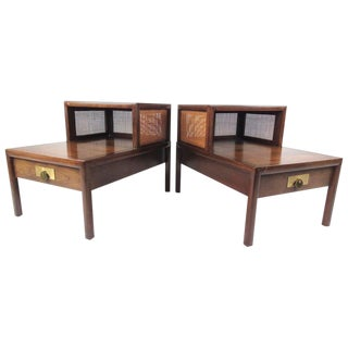 Baker Furniture Mid-Century Two Tier Nightstands - A Pair For Sale