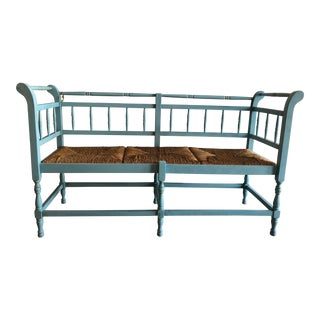 Country French Wood and Rush Bench For Sale
