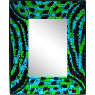 Mosaic Glass Small Wall Mirror For Sale