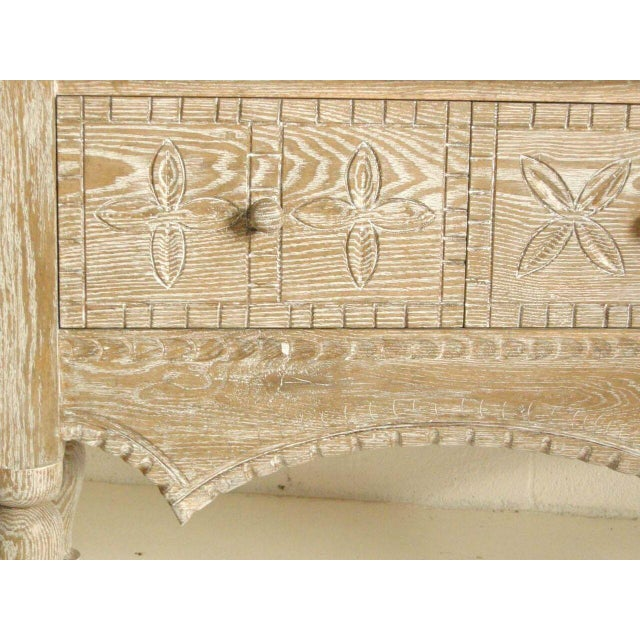 1920s Custom Ceruse Oak Wood Carved Console With Turned Legs and Drawers For Sale - Image 5 of 7
