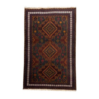Medallion Tribal Hand Knotted Rug- 3′9″ × 6′3″ For Sale