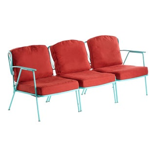 Vintage Three Piece Salterini Ribbon Design Sectional Sofa Designed by Maurizio Tempestini For Sale