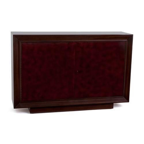 Shown in Mahogany with two-tone lacquer doors, as a two door console. The Faubourg cabinet by Studio Van den Akker also...