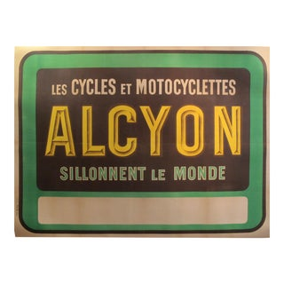 1910's Original French Art Nouveau Poster - Alcyon - Les Cycles Et Motos - Sillonnent Le Monde (Green) For Sale