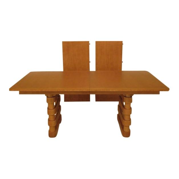 Baker Modern Design Satinwood Mahogany Dining Room Table For Sale