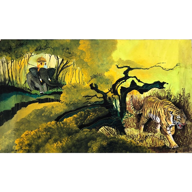 "1960s Signed Gouache Painting ""Tiger Hunt"" For Sale"