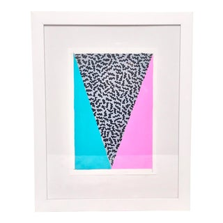 Contemporary Geometric Neon Pink and Blue Framed Painting For Sale