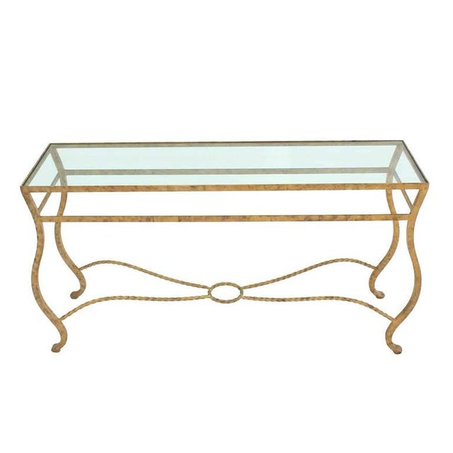 Pair of Ornate Gold Finish Console Tables For Sale - Image 4 of 9