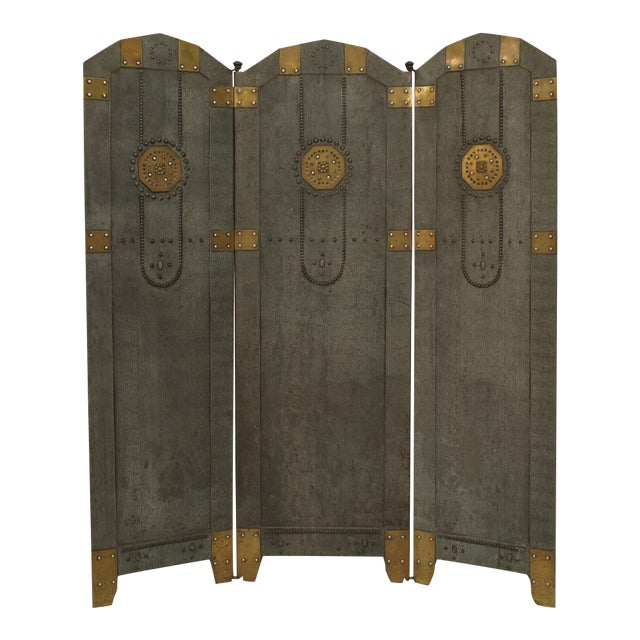 Austrian Secessionist Tole Painted 3 Panel Fire Screen For Sale