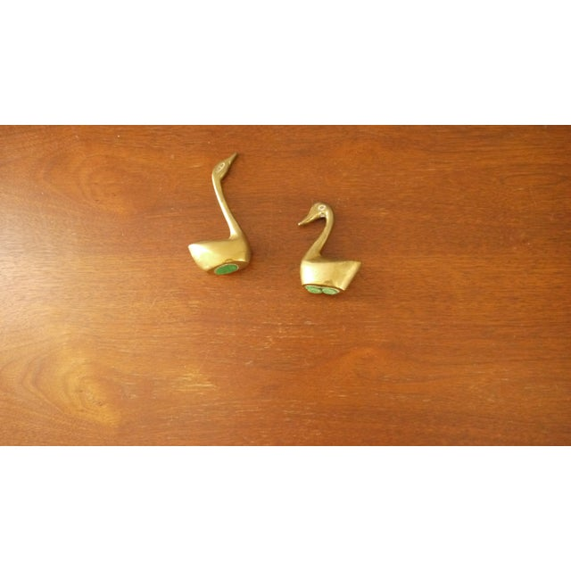 Mini Brass Swans - A Pair - Image 2 of 4