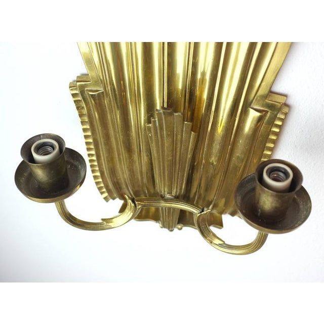Swedish Grace Brass Sconces - A Pair - Image 5 of 6