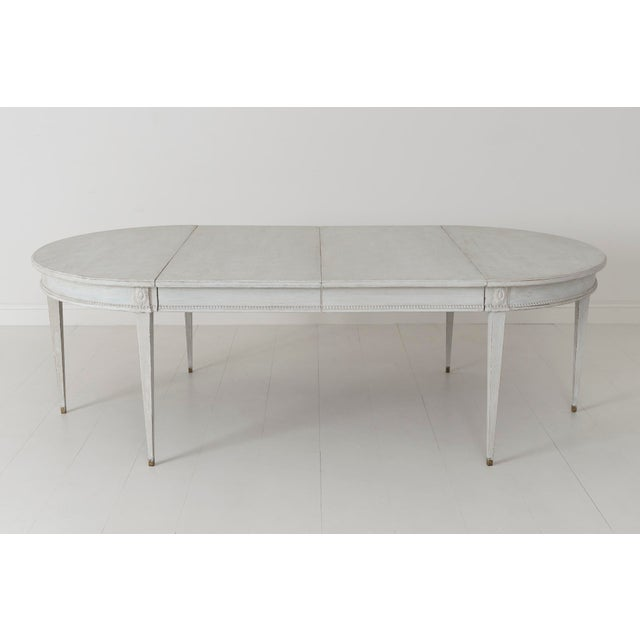 Swedish Gustavian Style Two-Leaf Extension Dining Table With Original Brass Feet For Sale - Image 10 of 11