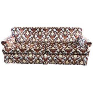 1970s Style Sofa in Jack Lenor Larsen Chevron Fabric For Sale
