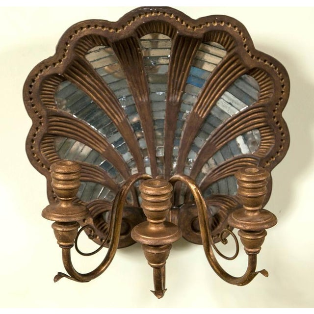 Wood Shell and Mirror Wall Sconces - Set of Four - Image 2 of 9