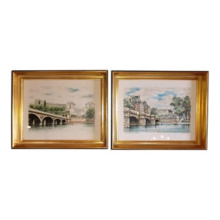 Pair of g.a. Dumarais Lithos of Paris Bridge Scenes For Sale