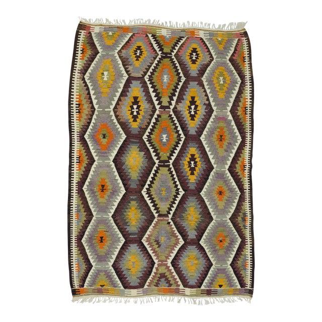 "Handwoven Vintage Decorative Colourful Turkish Kilim Area Rug - 5'3"" x 7'7"" For Sale"