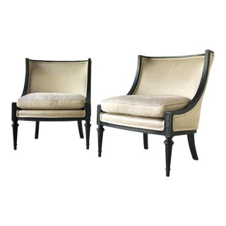 Pair of Ebonised Framed Upholstered Slipper Chairs 1950s For Sale
