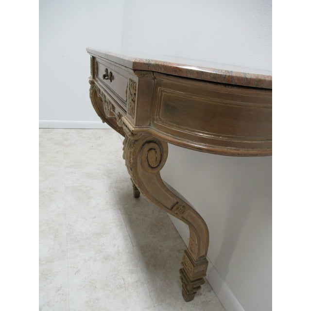 Early French Victorian Marble Top Wall Hall Console Server Table For Sale - Image 10 of 13