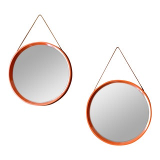 1968 Danish t.h. Poss' Eftf Orange Mirrors With Leather Straps For Sale
