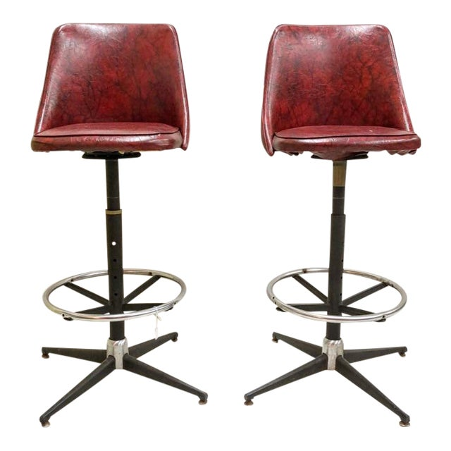 Mid-Century Cosco Swivel Bar Stools - A Pair - Image 1 of 11