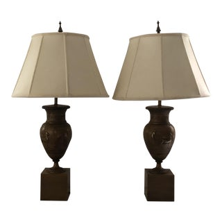 Neoclassical Style Matte Gold Lamps With Custom Silk Shades - A Pair