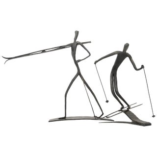 Bronze Skiing Figures Sculptures Initialed Bb Dated 1967 - a Pair For Sale
