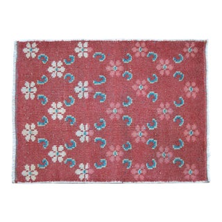 """Distressed Low Pile Turkish Rug Bath Mat - 1'9"""" X 2'4"""" For Sale"""