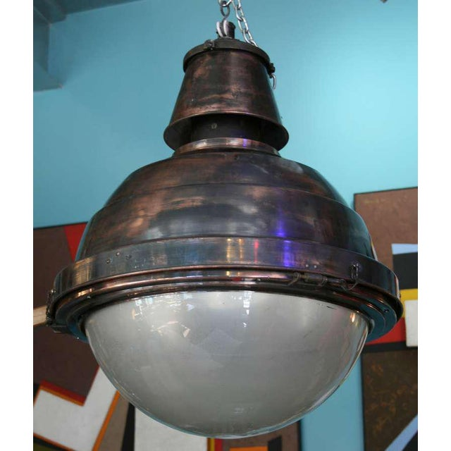 1930s Large Scale Copper and Glass Globe Ball Light For Sale - Image 5 of 5