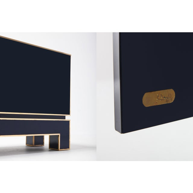Brass Brass and Blue Two-Door Cabinet Maison Jansen For Sale - Image 7 of 12