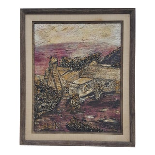 Signed H. De Roche Impasto Texture Rural Landscape Abstract Painting .