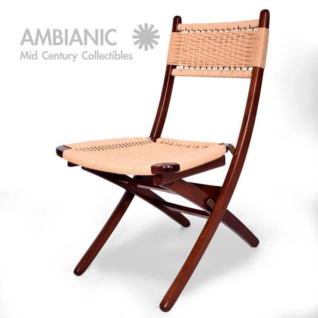 Fabric Mid-Century Danish Modern Rope Folding Chair For Sale - Image 7 of 9