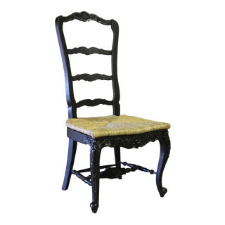 French Country Farmhouse Blackwash Dining Chair For Sale