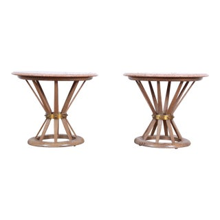 Edward Wormey for Dunbar Style Sheaf of Wheat Marble Top Side Tables, Pair For Sale
