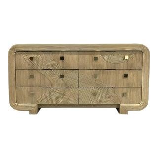 Gabriella Crespi Style Split Reed Vintage Rattan Dresser